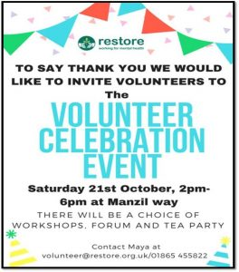 Volunteer Celebration Event @ Restore | England | United Kingdom
